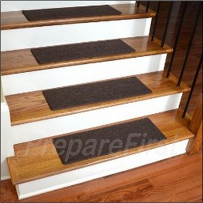 Non Slip Stair Safety Carpet Pads   BROWN   STYLE #2   Deluxe Border W/  Pre Applied EZ Peel U0026 Stick Strips   27 X 9 INCH   13 COUNT