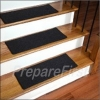 Non-Slip Stair Safety Carpet Pads - BLACK - STYLE #2 - Deluxe Border w/ Pre-Applied EZ Peel & Stick Strips - 27 x 9 INCH - 13 COUNT