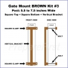 Gate Mount - BROWN -  Kit #3 - POST - SQUARE TOP & BOTTOM - 5.5 to 7.5 INCH